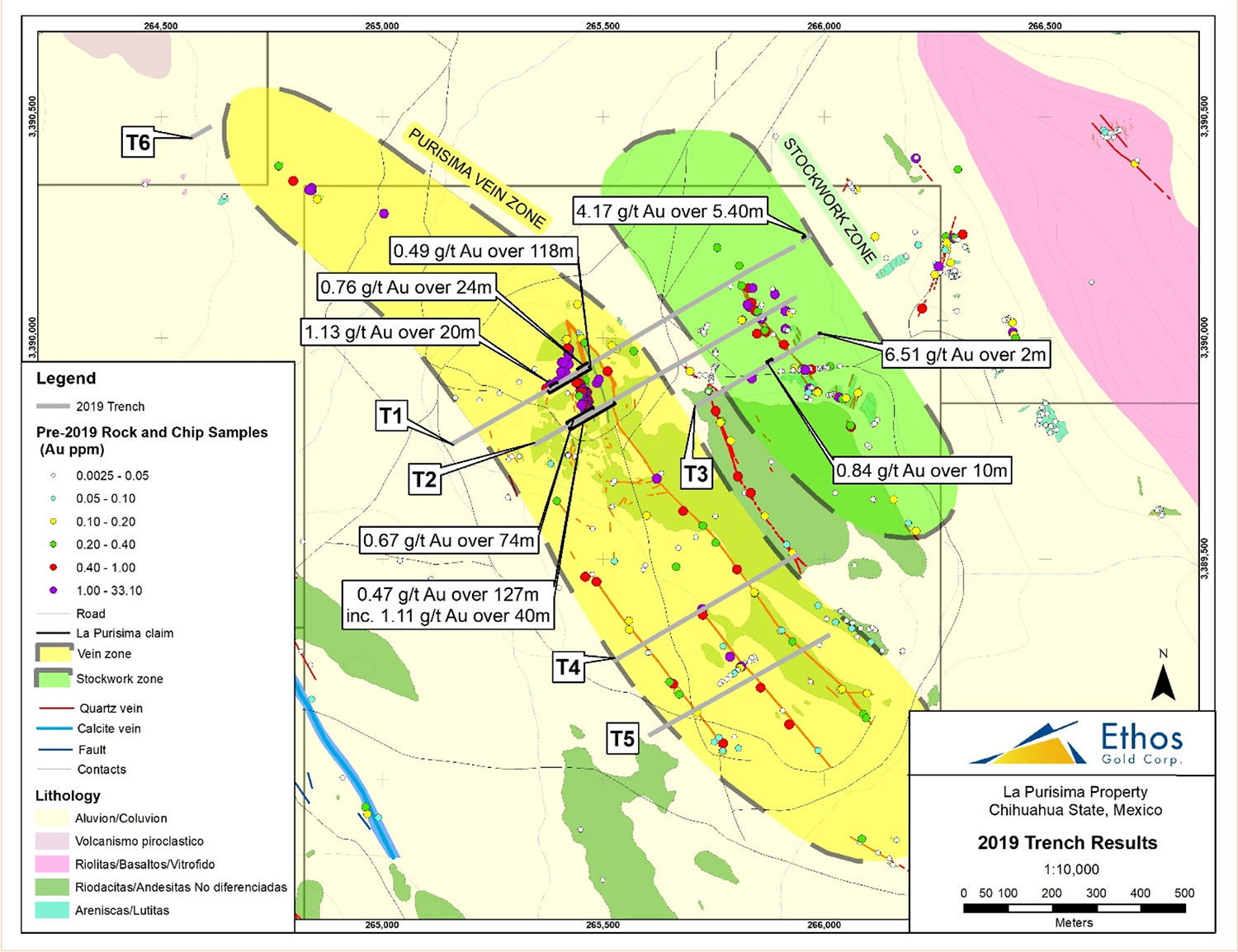 Ethos trenches 0.47 g/t Au over 127 m including 1.11 g/t Au over 40m at its La Purisima gold project, Chihuahua, Mexico