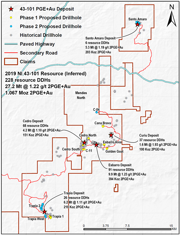Location of Proposed Phase 1 and Phase 2 Drill Targets; Mendes North