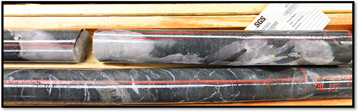 Comparison of Arrow zone drill core (top) and Hinge zone drill core (bottom). Both zones display identical hydrothermal biotite alteration, trace accessory sulphides and visible gold. Both zones are developed at the same type of geological contact.